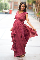 Auburn Embellished Luxe Maternity Dress