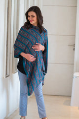 Teal Striped Viscose Nursing Stole
