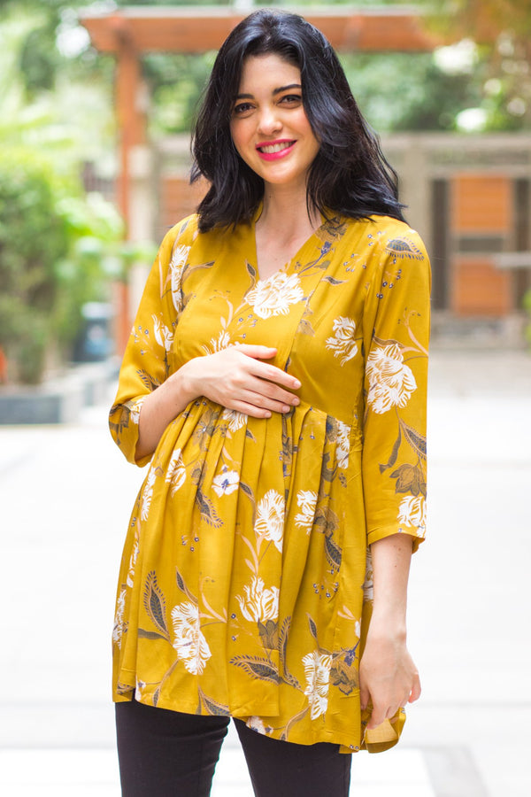 Mustard Yellow Leafy Maternity & Nursing Top - MOMZJOY.COM
