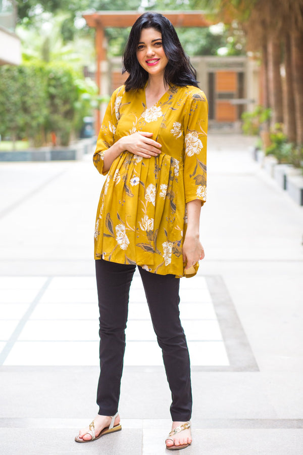 Mustard Yellow Leafy Maternity & Nursing Top