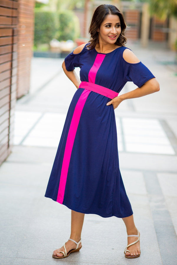 Midnight Blue Cold Shoulder Stretchable Maternity Dress