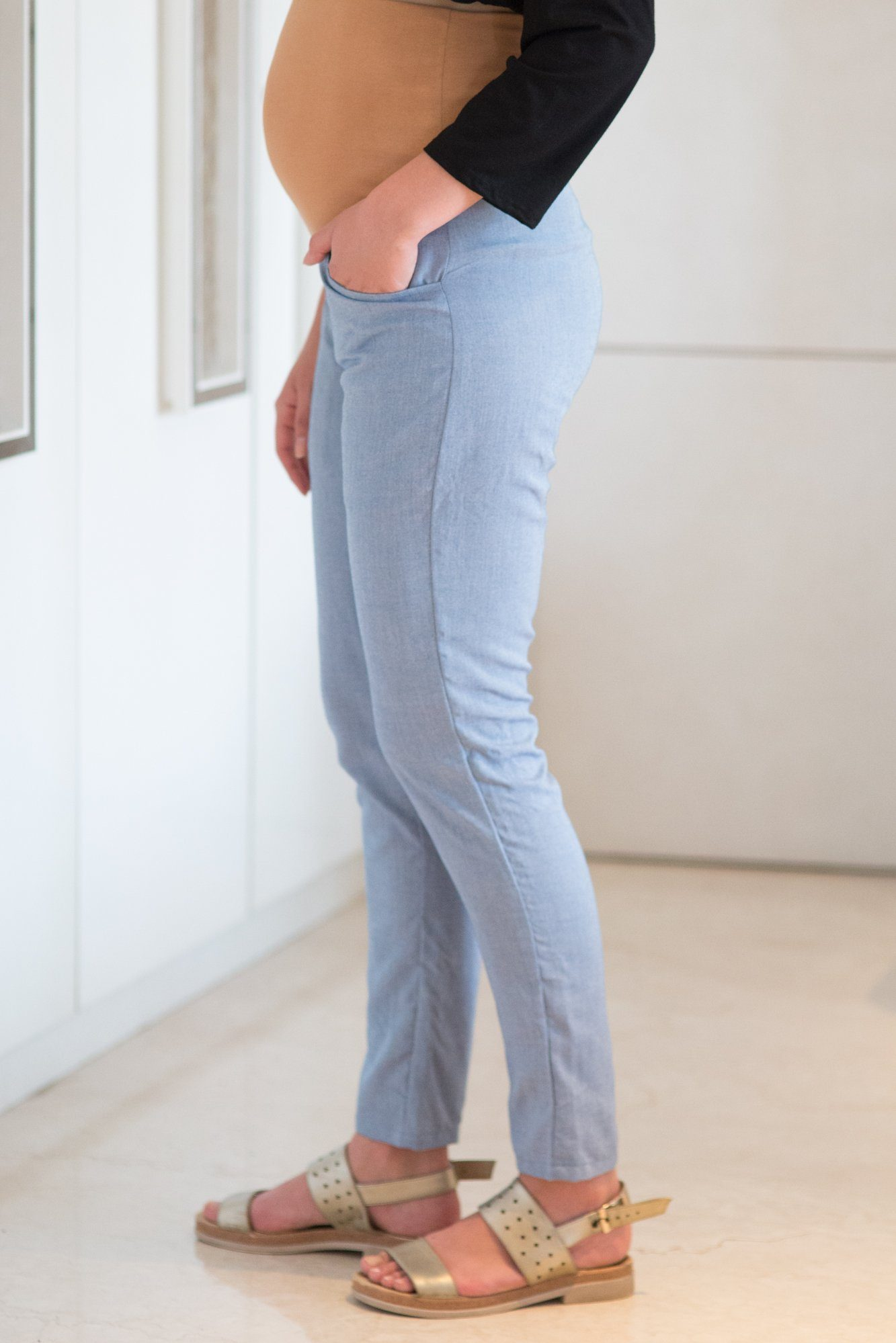 Comfy Denim Over Bump Pants - MOMZJOY.COM