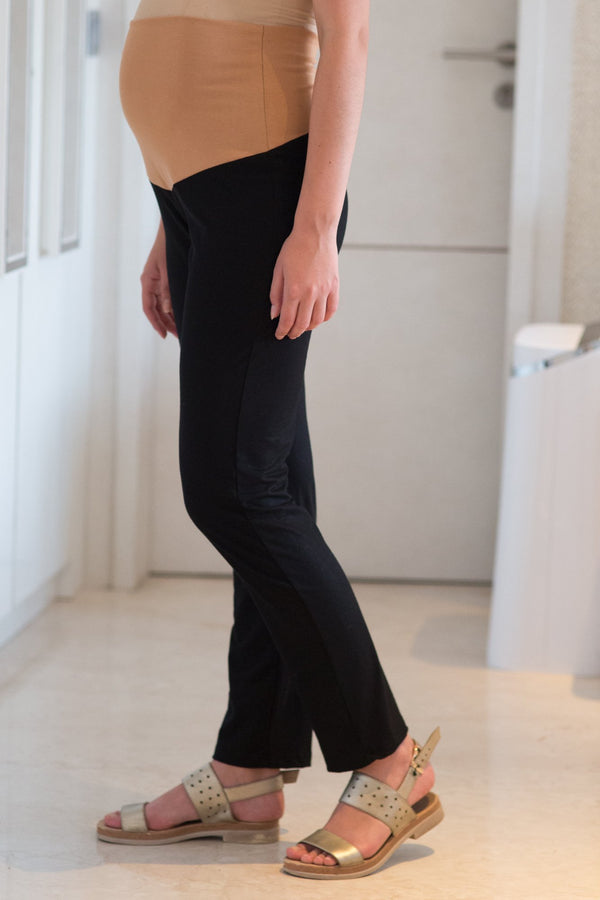 Black Over Bump Stretchable Maternity Leggings - MOMZJOY.COM