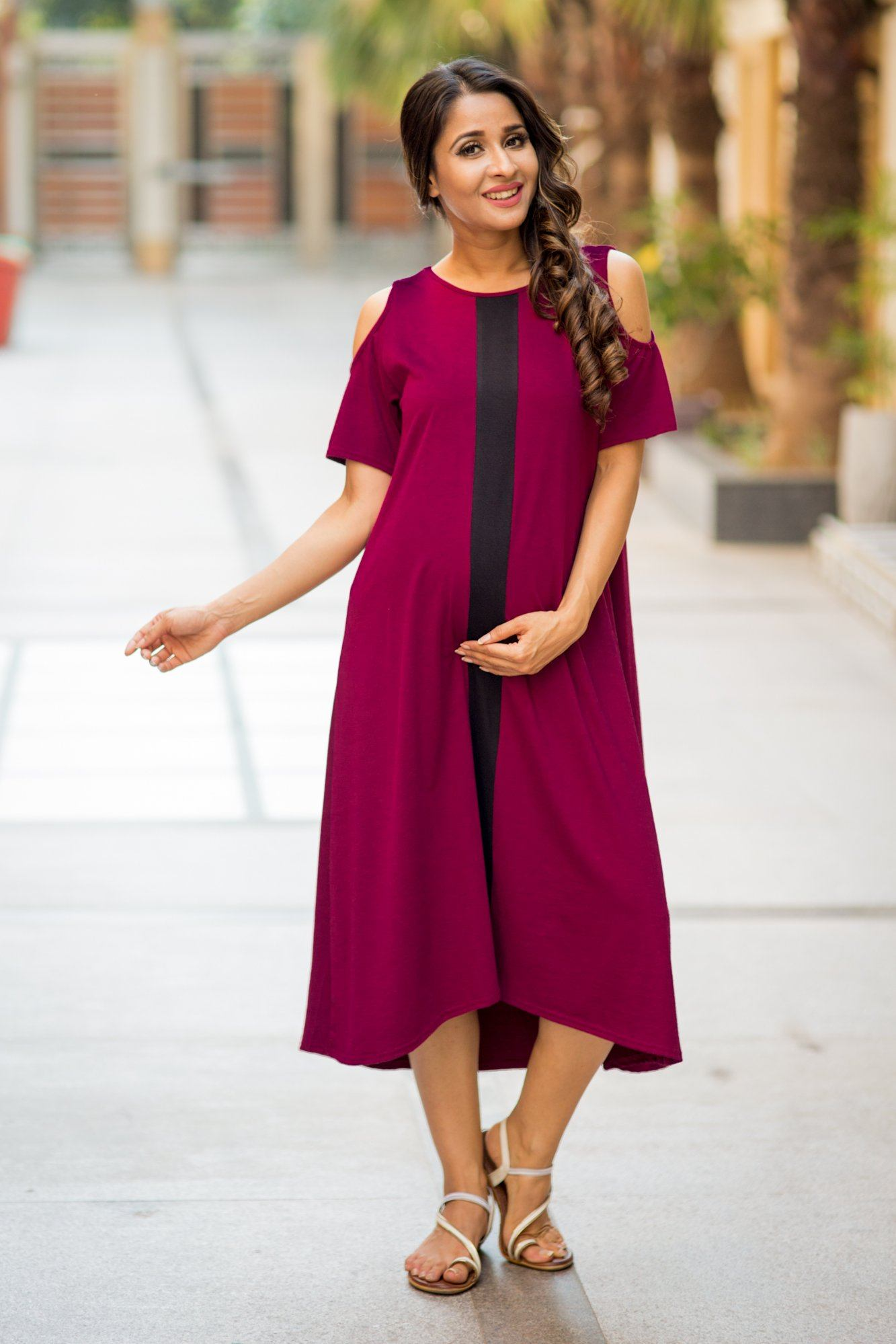 Wine Red Cold Shoulder Stretchable Maternity Dress