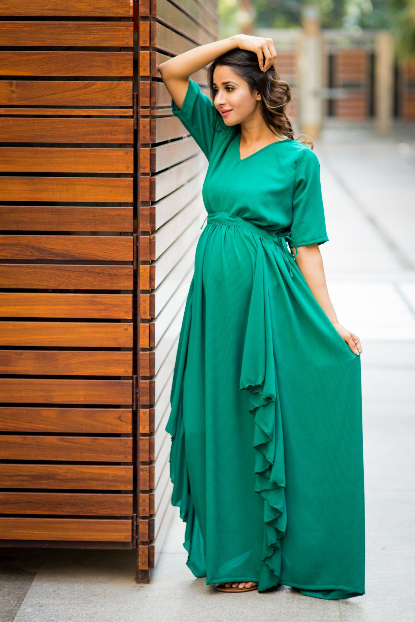 Buy online momzjoy maternity dresses pregnancy wear nursing clothes luxe forest green bubble georgette maternity dress ombrellifo Images