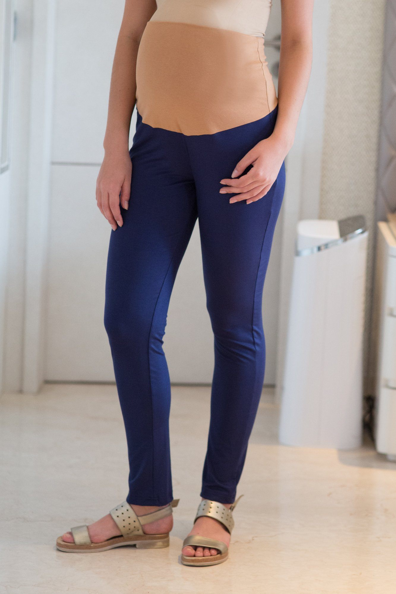 Navy Over Bump Stretchable Maternity Leggings