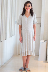 Serene Striped Nursing Night Dress