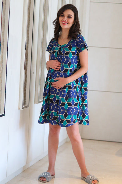 Comfy Abstract Maternity & Nursing Night Dress - MOMZJOY.COM