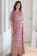 Orchid Zig-Zag Maternity & Nursing Night Dress