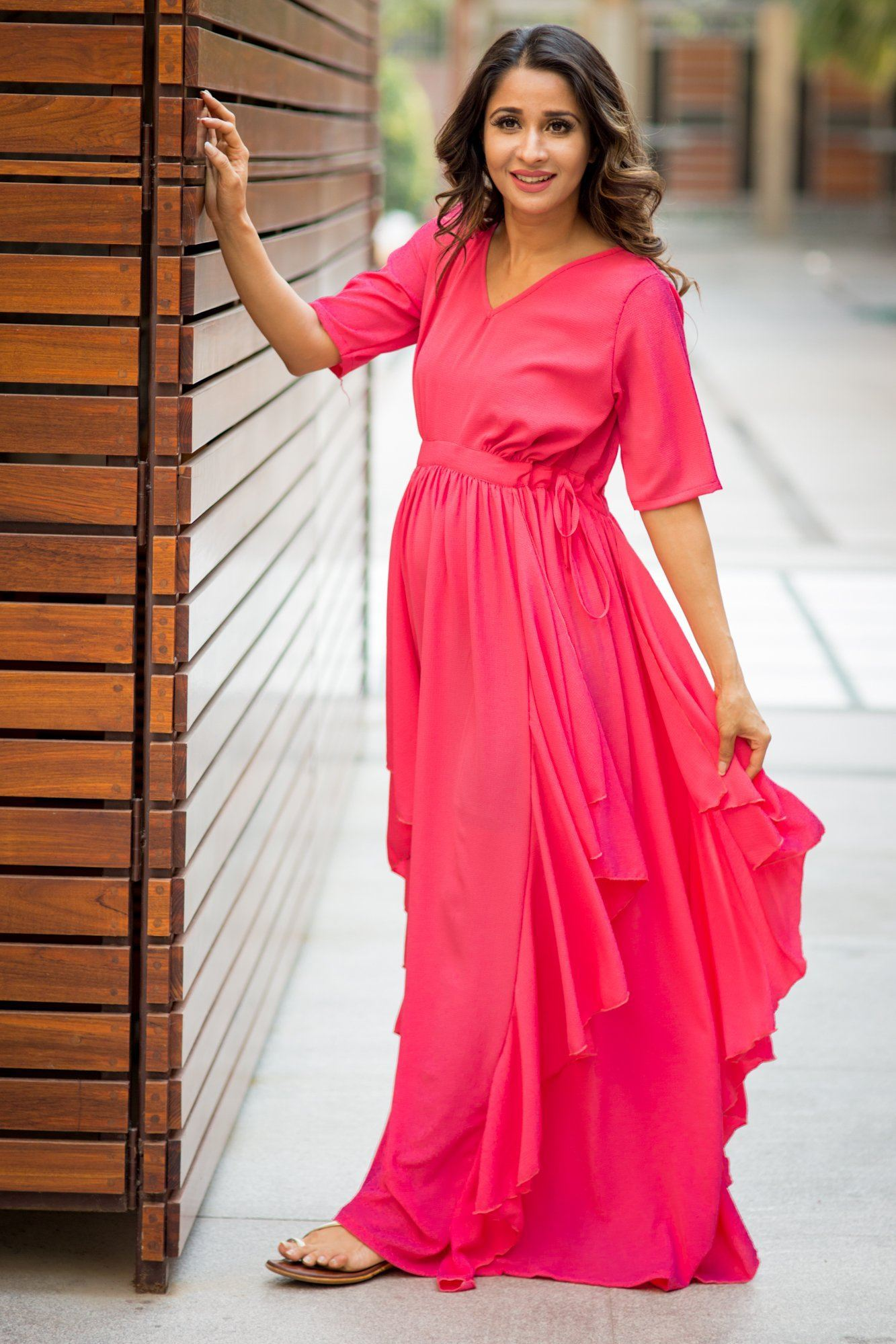Buy online momzjoy maternity dresses pregnancy wear nursing clothes luxe pink blush bubble georgette maternity dress ombrellifo Images