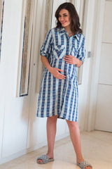 Snowflake Warm Maternity & Nursing Shirt Dress