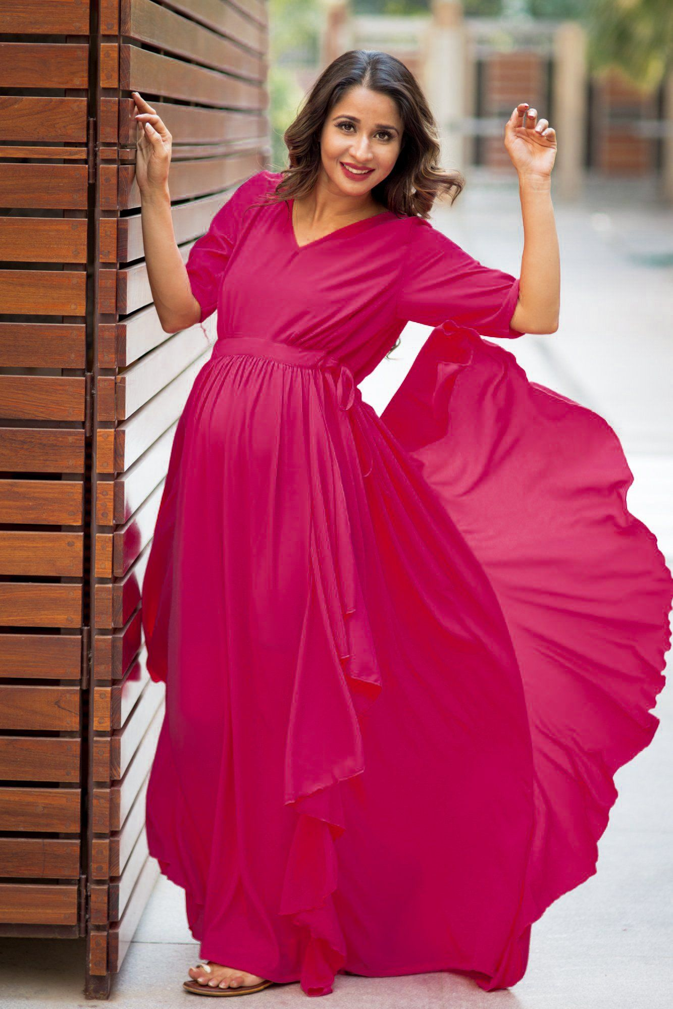 Buy online momzjoy maternity dresses pregnancy wear nursing clothes luxe deep pink blush bubble georgette maternity dress ombrellifo Images