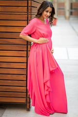 Luxe Pink Blush Bubble Georgette Maternity Dress