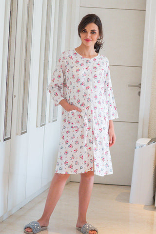 White Floral Maternity & Nursing Night Shirt Dress