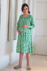 Botanical Mint Maternity & Nursing Night Dress - MOMZJOY.COM