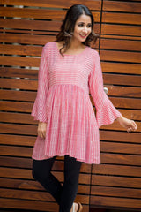 Red Striped Bell Sleeves Gathered Maternity & Nursing Top