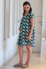 Soft Comfy Moss Plaid Nursing Night Dress