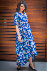 Floral Blue High-Low Maternity & Nursing Wrap Dress - MOMZJOY.COM