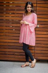 Red Striped Bell Sleeves Gathered Maternity Top