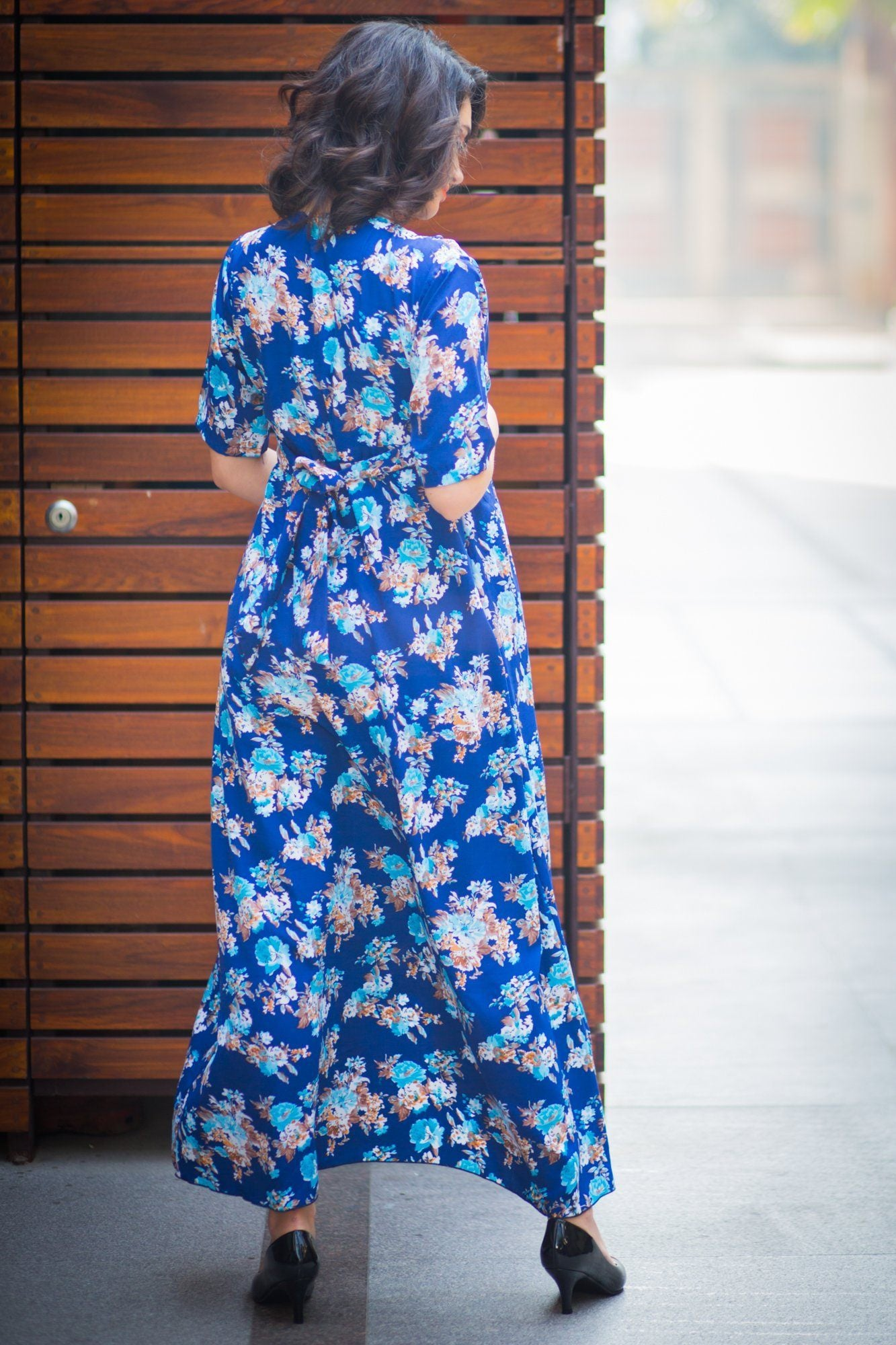 Floral Blue High-Low Maternity & Nursing Wrap Dress
