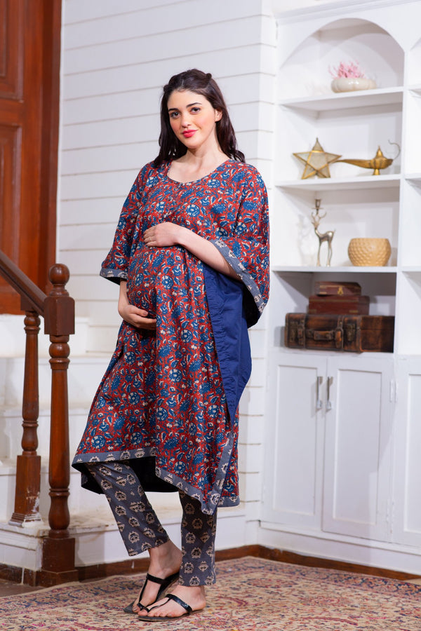 Cotton Noor Maternity & Nursing Kaftan Set With Pants (Set of 2)