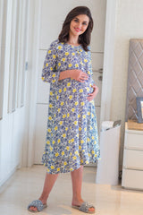 Pale Floral Maternity & Nursing Night Dress