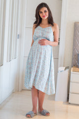 Pastel Blue Butterfly Maternity Night Dress