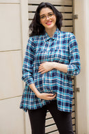 Classic Blue Check Gathered Maternity & Nursing Top - MOMZJOY.COM