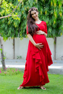 Red Bubble Satin Luxe Maternity Flow Dress