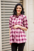 Peach Gathered Viscose Maternity & Nursing Shirt - MOMZJOY.COM