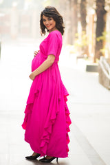 Luxe Pop Pink Bubble Georgette Maternity Flow Dress