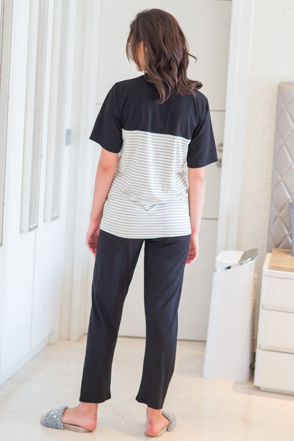 Set of Two - Striped Grey Lounge Maternity & Nursing Pyjamas Set