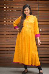 Mustard Yellow & Fuscia Long Maternity & Nursing Kurta