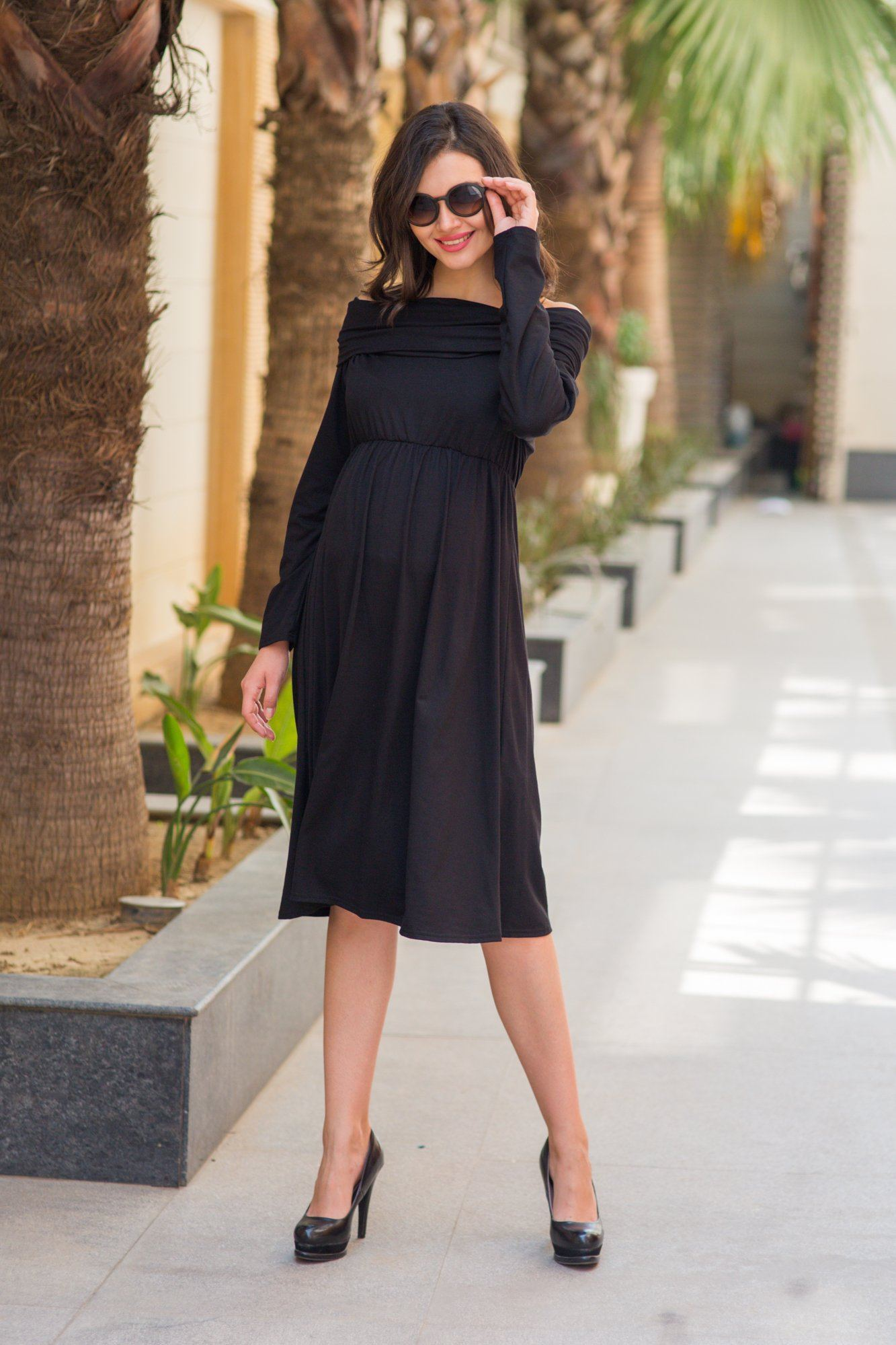 Elegant Cowl Neck Off-shoulder Lycra Maternity Maxi - MOMZJOY.COM