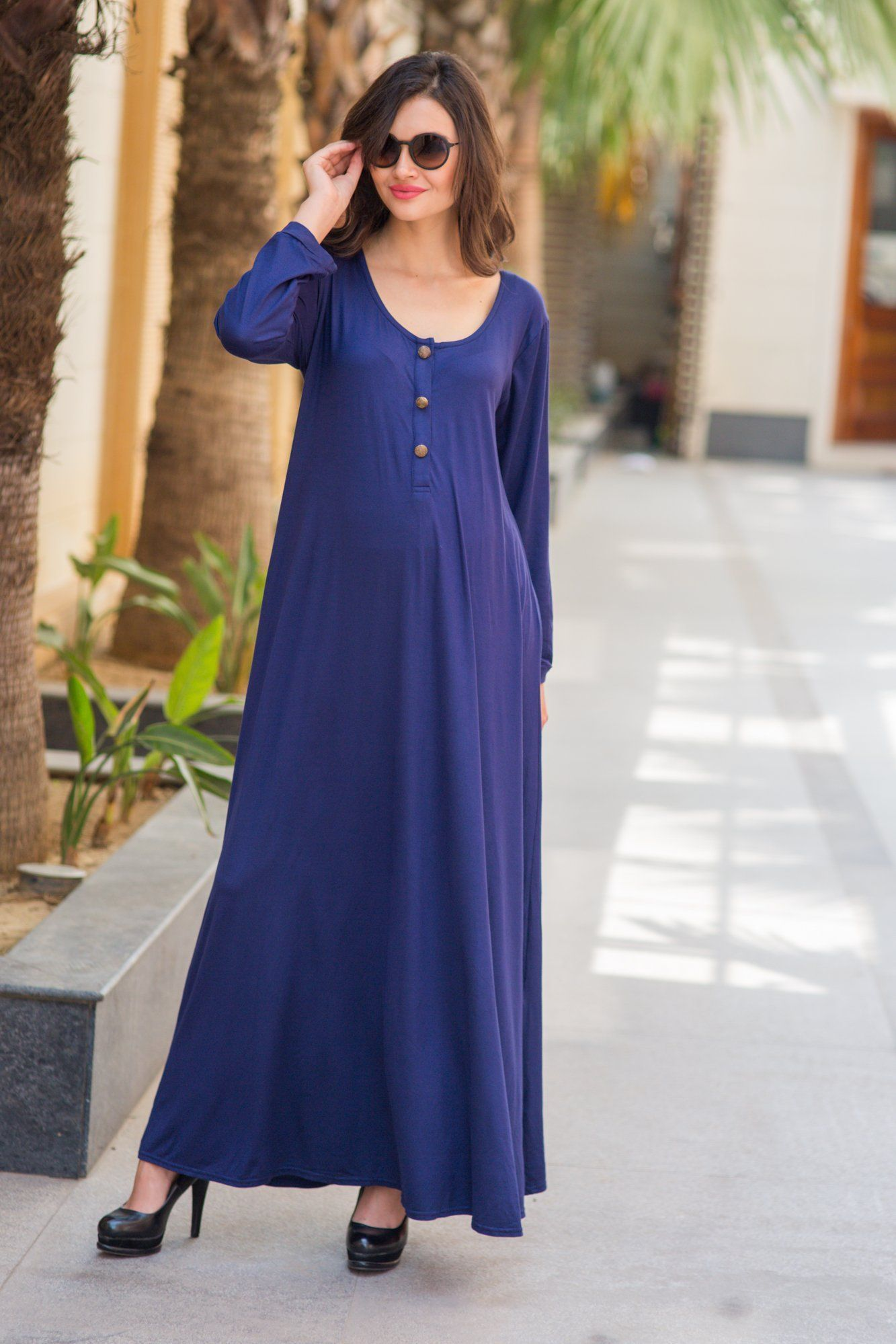 Blue Maternity Maxi Dress - MOMZJOY.COM