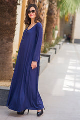 Blue Maternity Maxi Dress