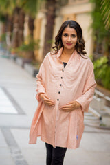 Soft Peach Gold Embellished Luxe Nursing Stole
