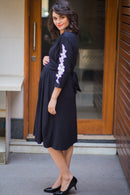Classic Crochet Black Wrap Maternity & Nursing Dress - MOMZJOY.COM