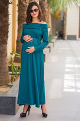 Teal Cowl Neck Off-shoulder Lycra Maternity Maxi