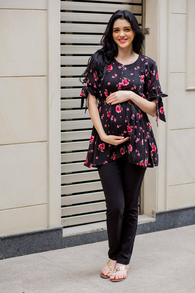 Classic Floral Bow Tie Gathered Nursing Top - MOMZJOY.COM