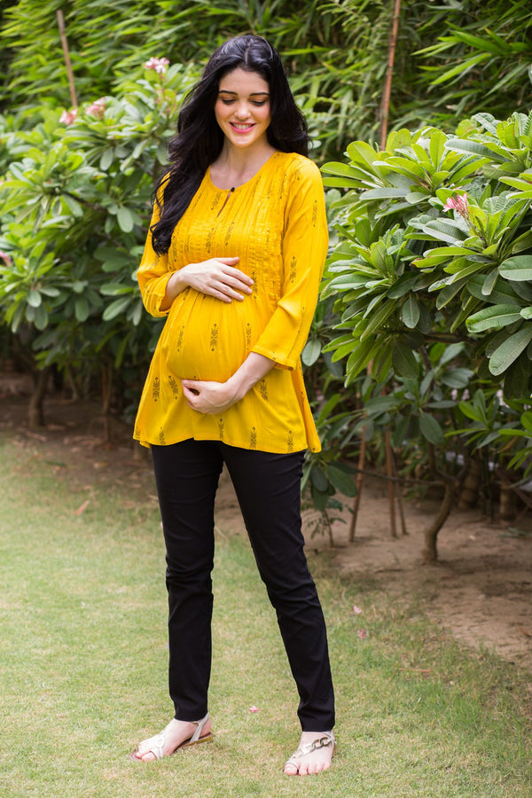 Yellow Printed Maternity & Nursing Concealed Zip Top