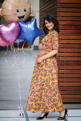 Mustard Yellow Blossom Maternity & Nursing Wrap Dress