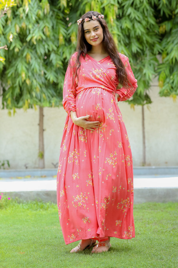 Pink Blush Floral Maternity & Nursing Wrap Dress