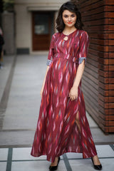Vintage Wine Ikat Concealed Zips Maternity & Feeding Dress