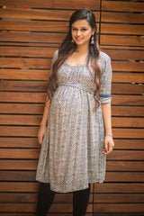 Beige & Blue Pattern Pocket Maternity Kurta