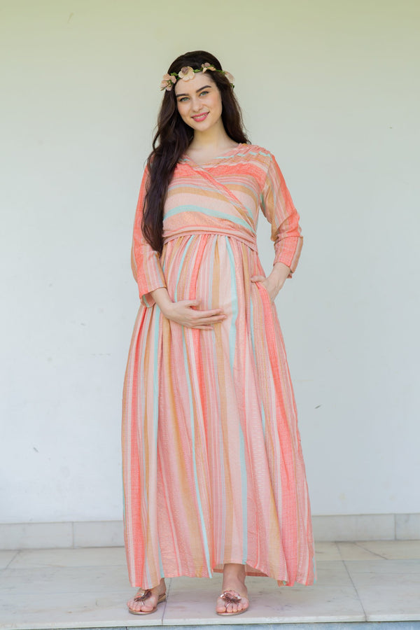 Striped Berry Maternity & Nursing Wrap Dress