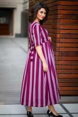 Plush Violet Striped Maternity & Nursing Dress