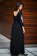 Premium Black Lycra Crochet Sleeves Maternity Dress - MOMZJOY.COM