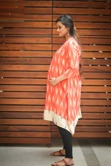 Orange Ikat Front Zip Maternity & Nursing Kurta