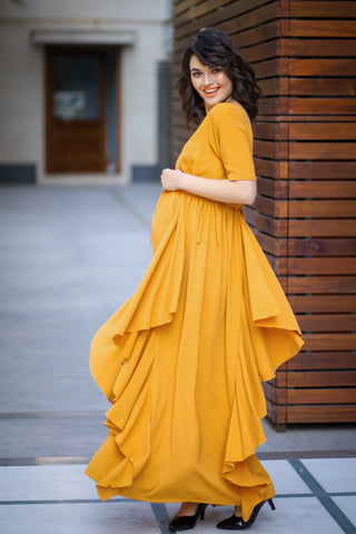 Luxe Mustard Yellow Moss Elbow Sleeves Maternity Flow Dress